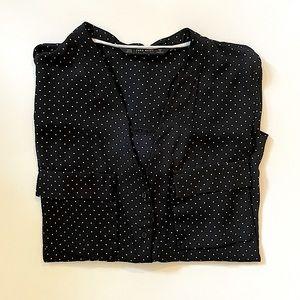 ZARA | black & white polka dot semi sheer blouse M